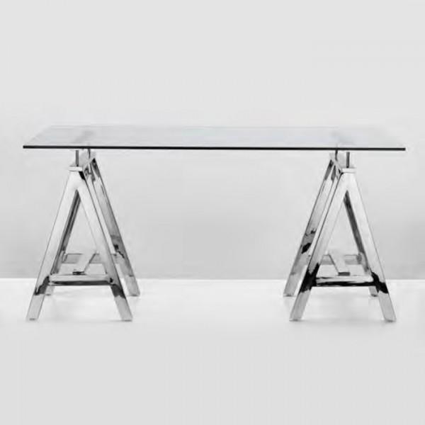 Piano Per Tavolo Vetro.Tavolo In Acciaio Con Top In Vetro Concept Braid Heritage Brand